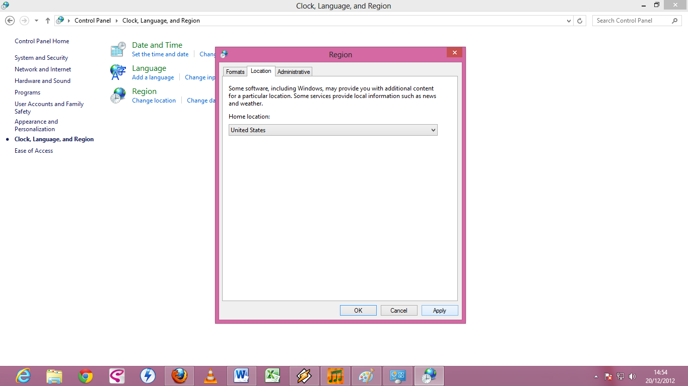 how to change region on windows 8 in chinese